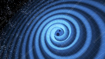 Gravity waves from black holes merging, illustration