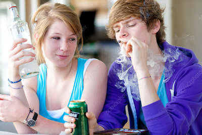 Teenagers smoking marijuana