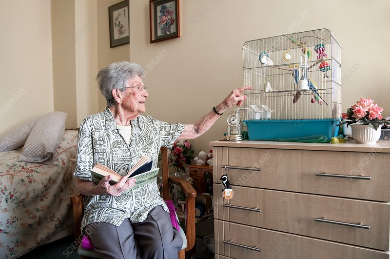 Care home resident and pet bird