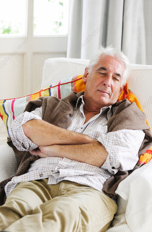 Senior taking a nap - Stock Image C031/5728 - Science ...