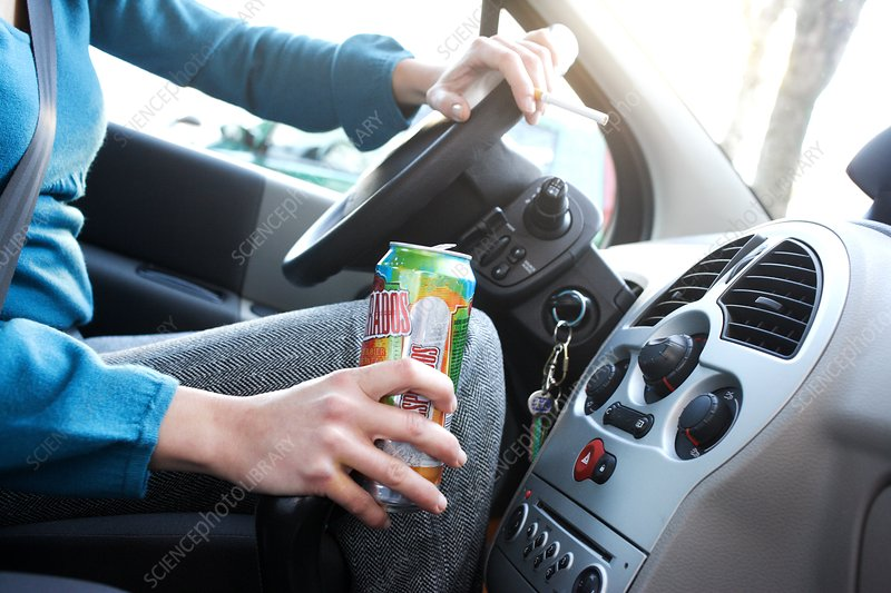 Woman car drinking and smoking