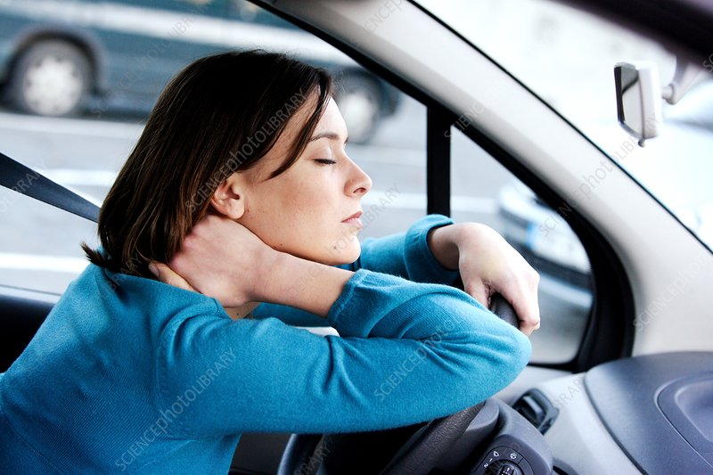 Driver suffering from neck pain