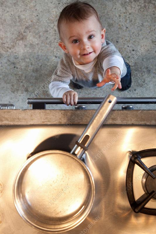 Baby near stove