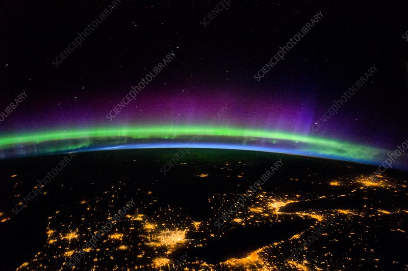 Aurora over the Great Lakes, USA, ISS image