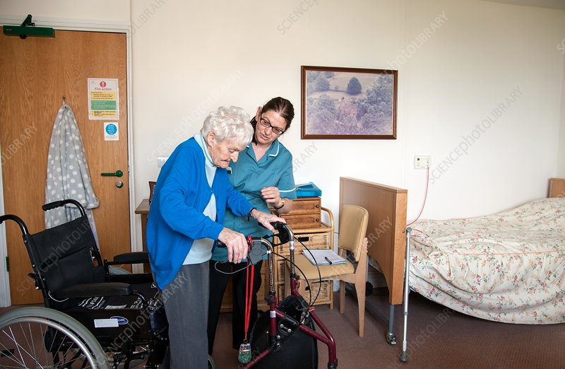 Care home resident and assistant