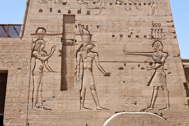 Reliefs at Temple of Isis on Philae Island