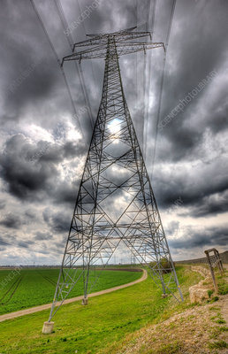 Cloudy Sky and Electricity Pylon