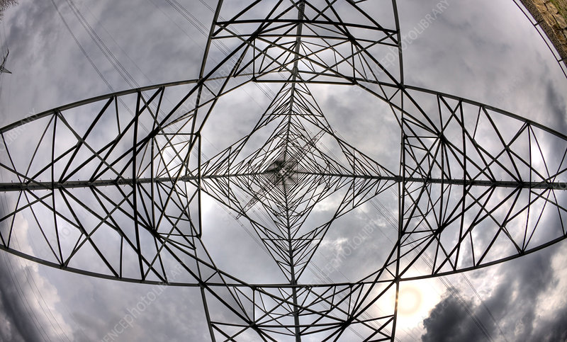 Electricity Pylon and Cloudy Sky