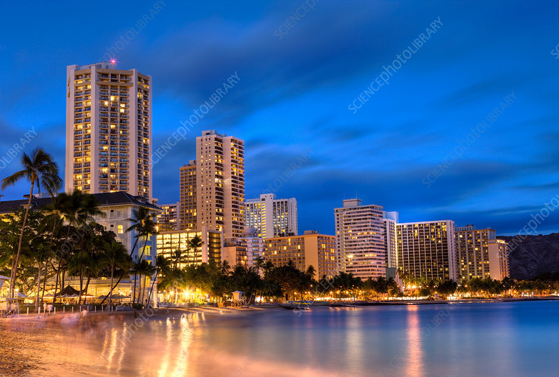 Waikiki Beach At Sunset Stock Image C031 7059 Science