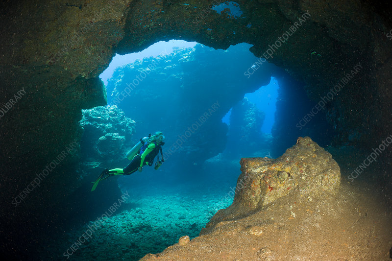 Diver at Caves of Lava Tubes