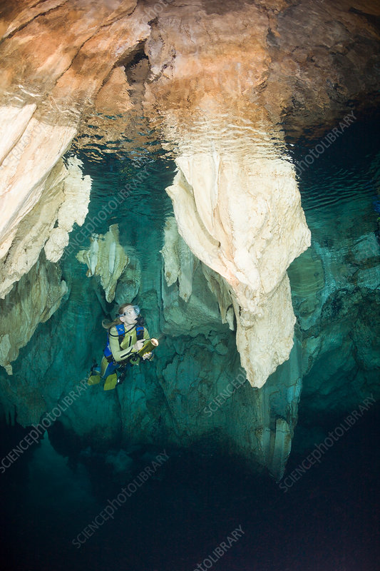 Diver in Chandelier Dripstone Cave