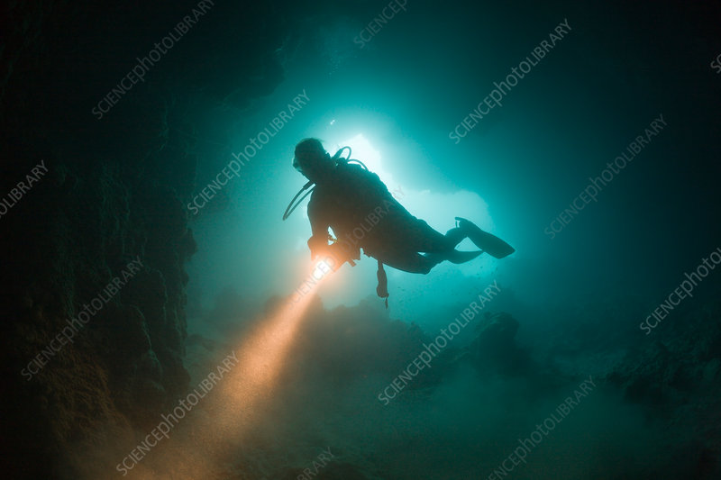 Diver at Entrance of Chandelier Dripstone Cave