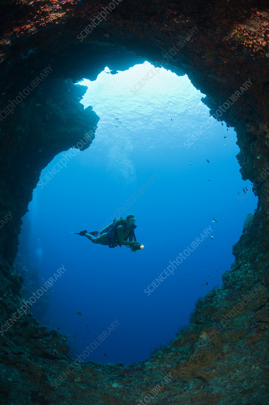Diver in Blue Hole Cave