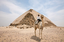 Police on Camel at Bent Pyramid of Pharaoh Snofru