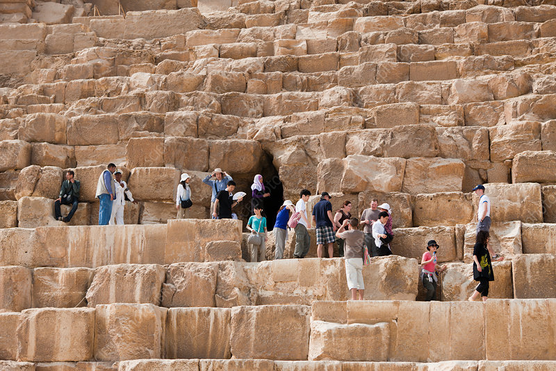 Tourists at Entrance of Pyramid of Cheops