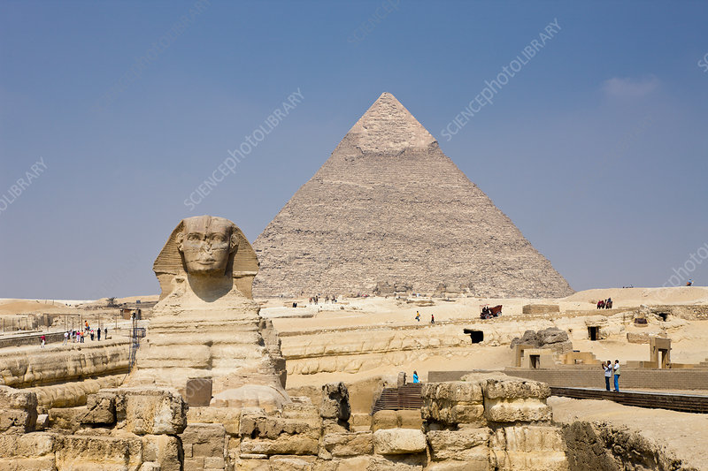 Great Sphinx of Giza against Khafra Pyramid