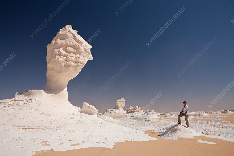 Tourist in White Desert National Park