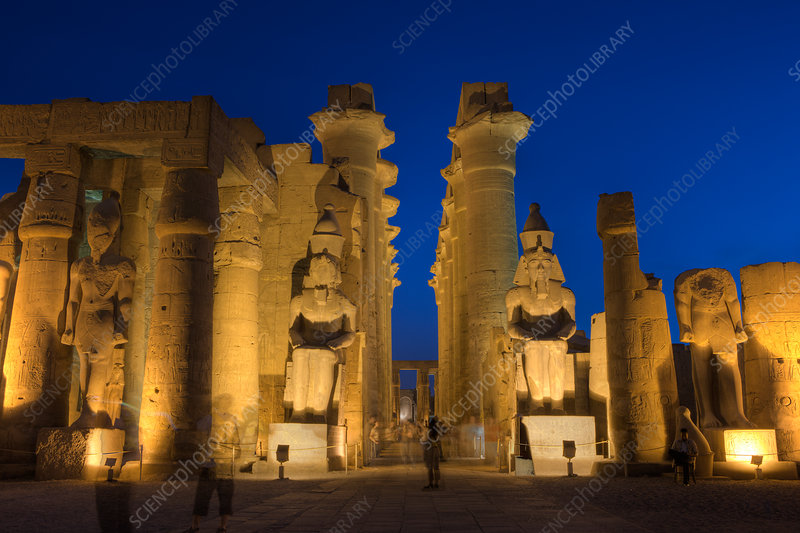 Illuminated Columned Hall inside Luxor Temple