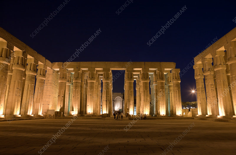 Illuminated Columned Hall of Luxor Temple