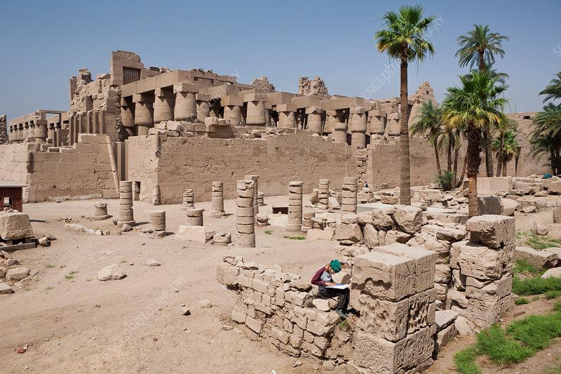 Archaeologist at Karnak Temple