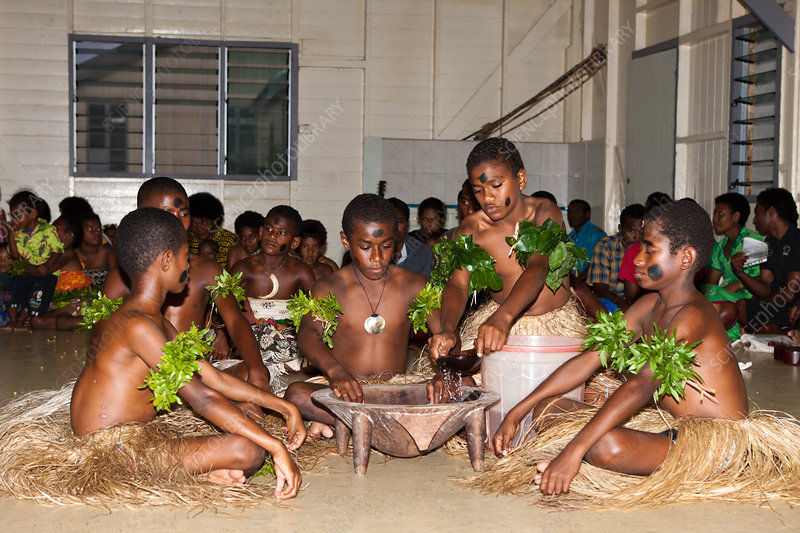 Natives perform Kava Ceremony