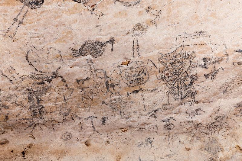 Pre-Columbian Rock paintings in Limestone Cave