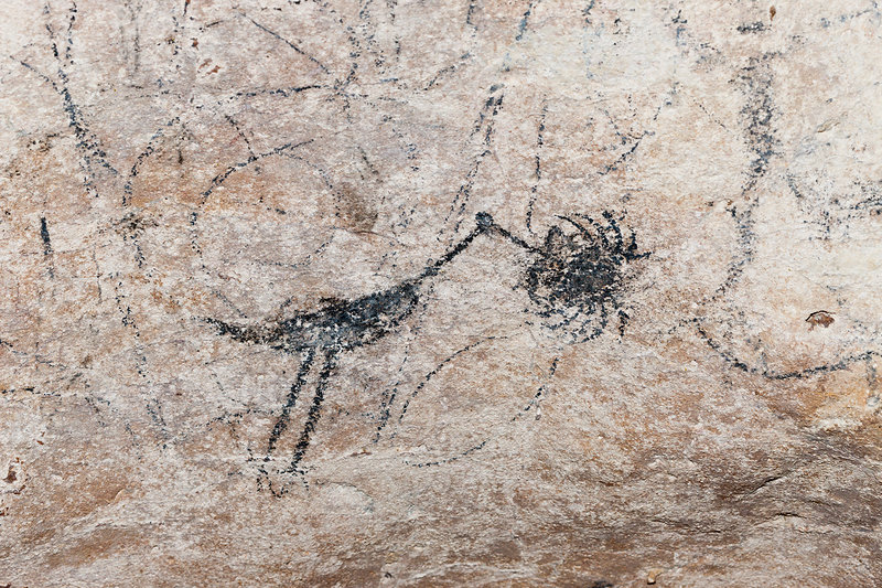 Pre-Columbian Rock paintings in Limestone Cave