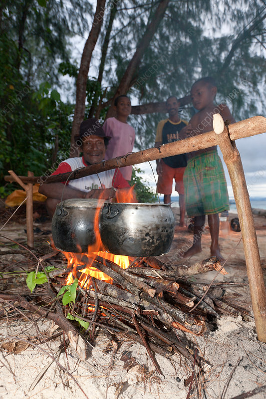 Natives coocking at Beach