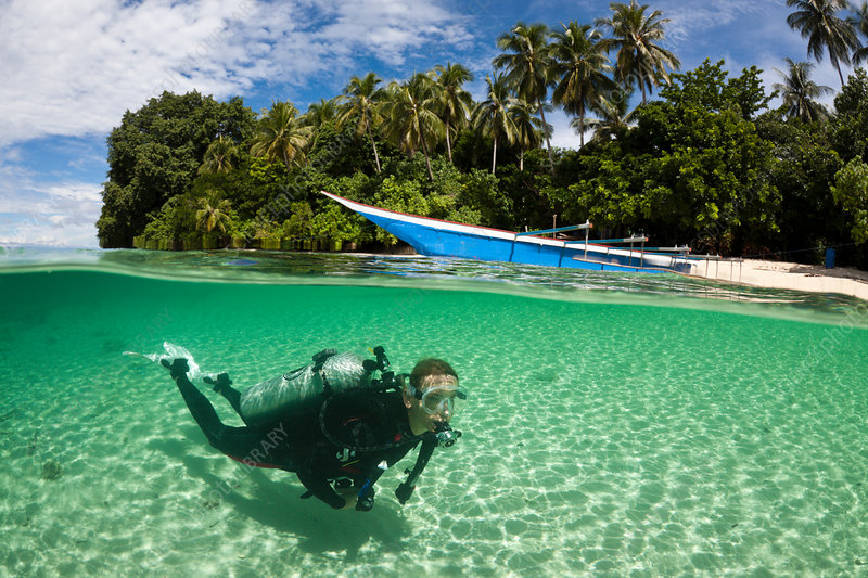 Scuba Diver in Lagoon of Ahe Island