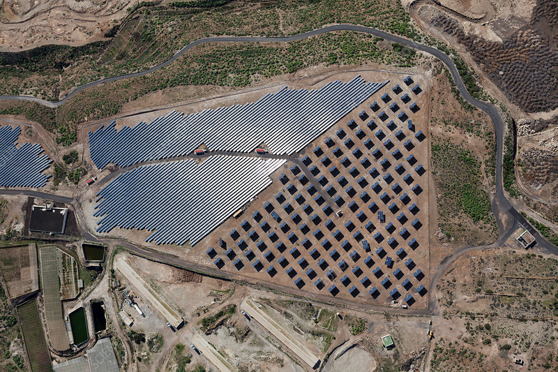 Aerial View of Solar Collectors near El Poris