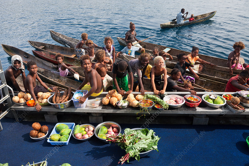 Boat Market with Fruits and Vegetables