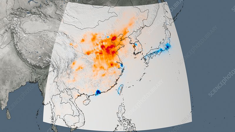 East Asia nitrogen dioxide trend 2005-2014, satellite map