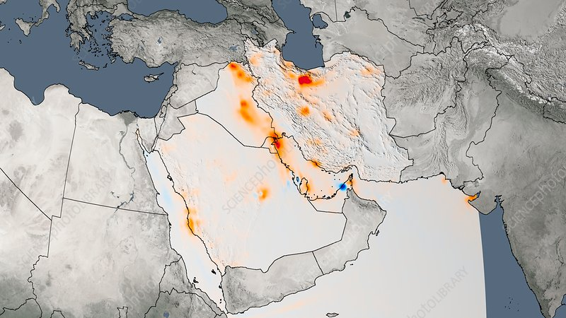 Middle East Nitrogen Dioxide Trend Satellite Map - World satellite map 2014