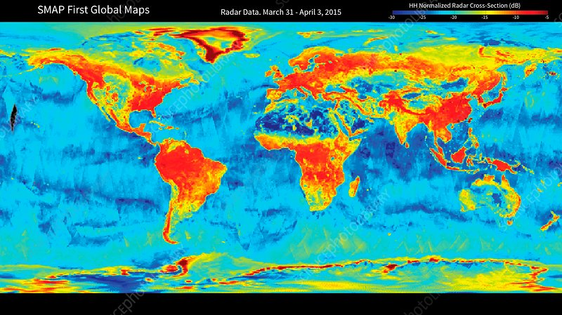 Global soil moisture, SMAP radar satellite map