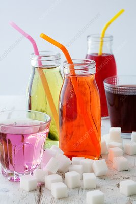Bottles and glasses of sugary drinks