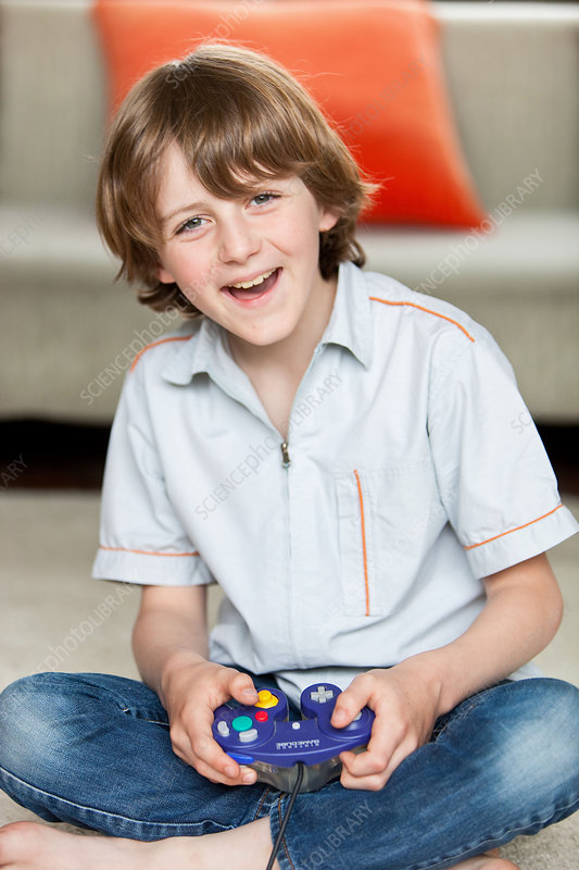 Kid playing videogames