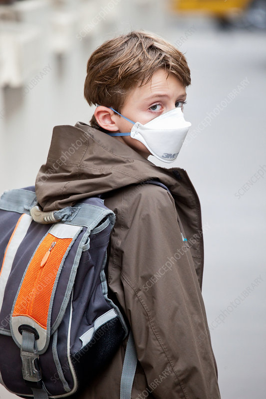 Child with protective mask