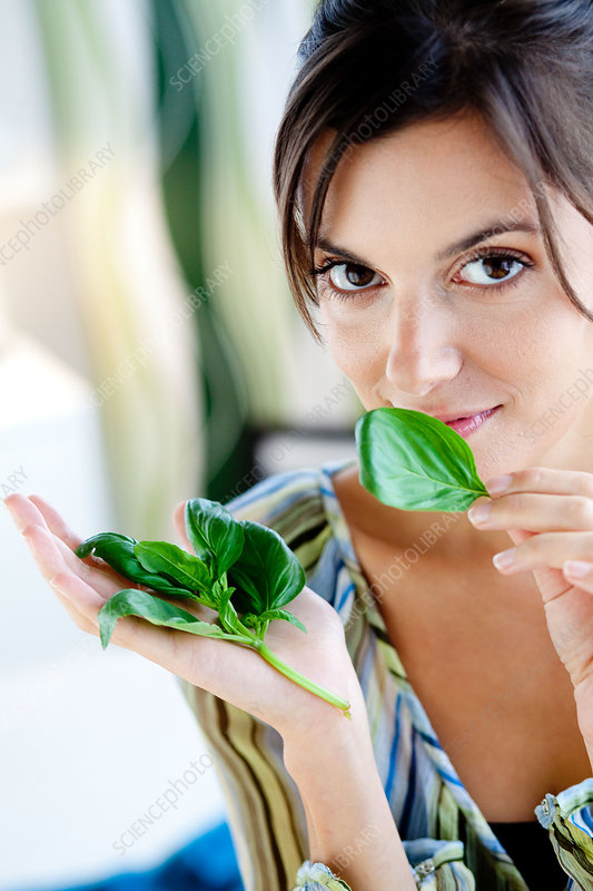 Woman smelling basil