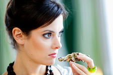 Woman smelling rotten oyster