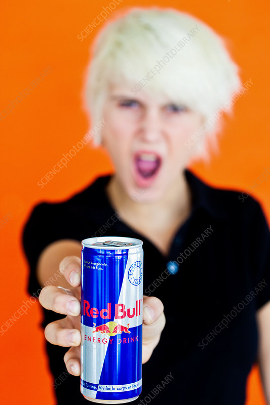 Teenager with energy drink
