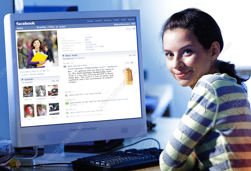 Girl using Facebook