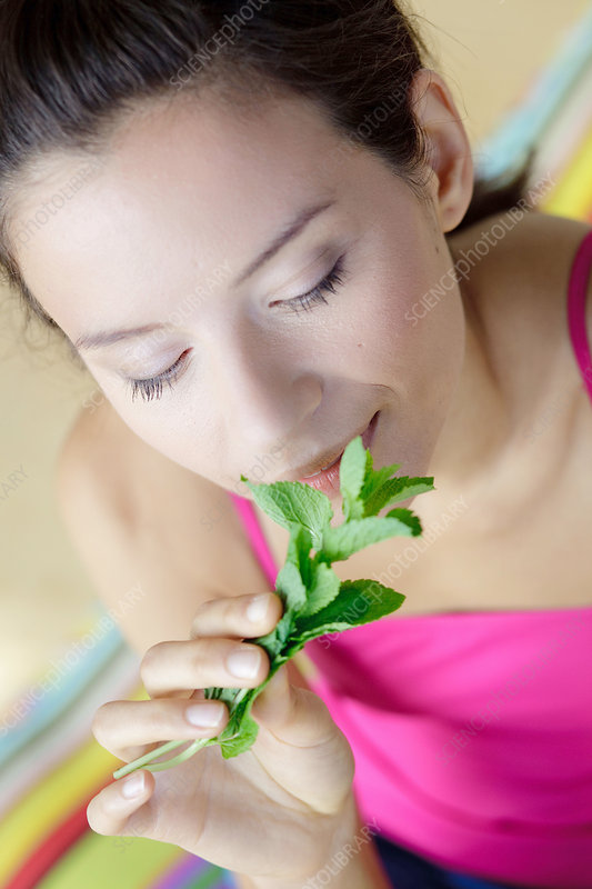 Woman smelling mint leaves
