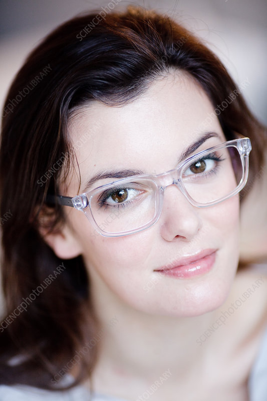 Woman wearing prescription glasses