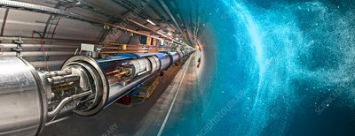 LHC dipole in tunnel at CERN, illustration