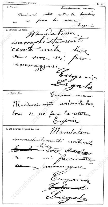 Handwriting changes under hypnosis, 19th century