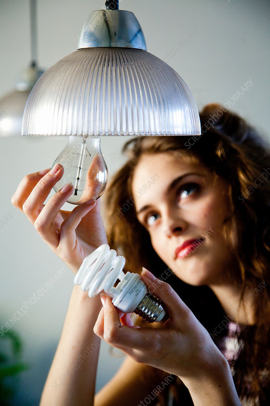 Woman using energy saving bulb