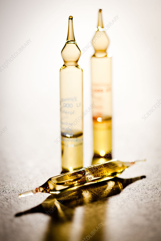 Glass ampoules of vitamin D