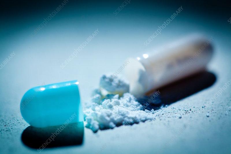 Opened drug capsule