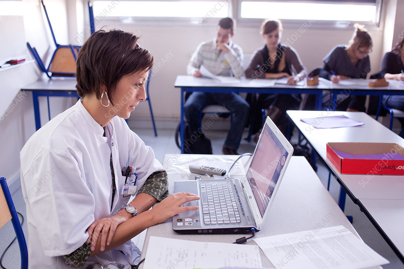 Students at university class