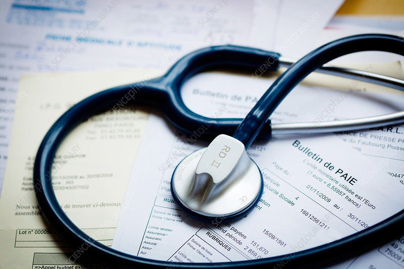 Stethoscope and payslip